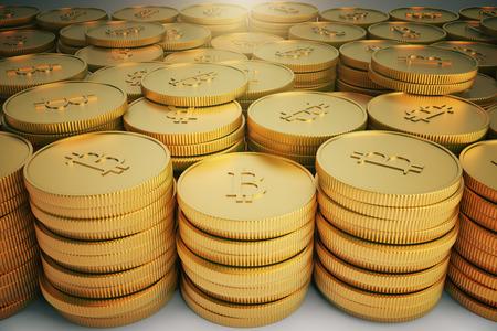 e cash: Group of golden Bitcoin coins, 3d rendering