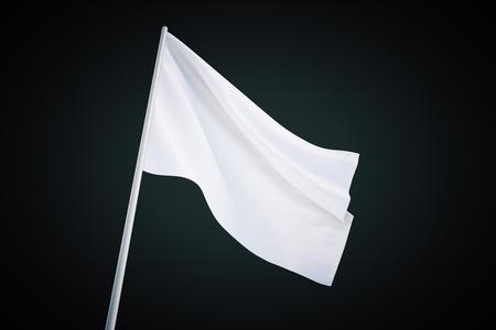 raise the white flag: Waving white flag on black background, 3d rendering