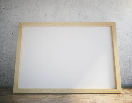 blank sign: Blank picture frame on wooden table, close up
