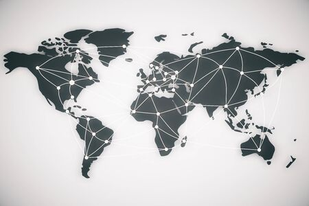 world connectivity: World map and connection lines. Social media, technology connectivity concept, 3d rendering