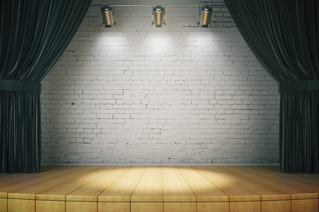 empty stage: Black curtain of classical theater, 3d rendered