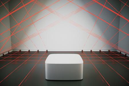 room safe with a laser security system, 3d rendering