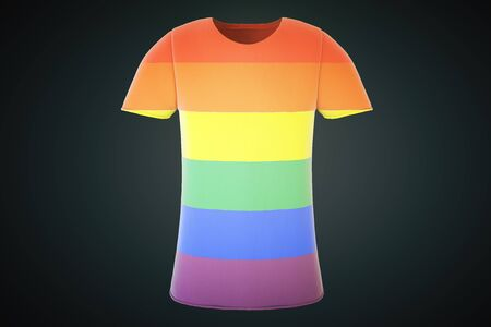 blue shirt: T-shirt with a gay flag on a black background, 3d render