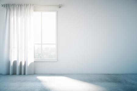Lege witte muur met raam en betonnen vloer, mock-up, 3D render
