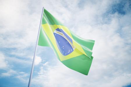 governmental: Waving Brazilian flag on a sky background