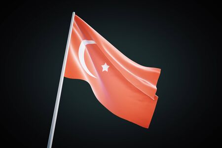 governmental: Turkey flag waving on a black background, 3d render Stock Photo