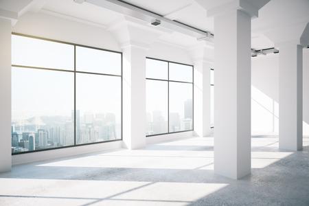 big windows: Empty white loft interior with big windows, 3d render Stock Photo