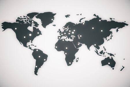 designation: Illustration world map with capitals, 3d render