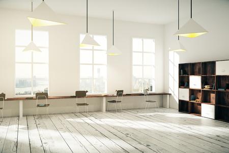 Interior of sunny creative office with wooden floor, windows and big desktop, 3D Render Stockfoto
