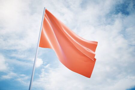 flag banner: Waving red flag on a sky background, mock up