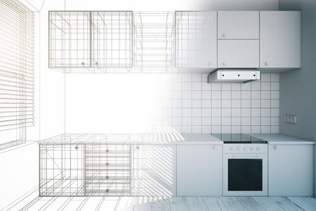設計図、3 D のレンダリングで新しい白いキッチン インテリアのデザイン