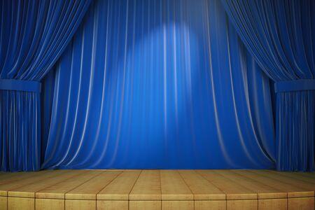 sipario chiuso: palco di legno con tende blu e riflettori, rendering 3d