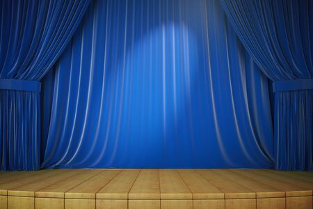 curtains: Wooden stage with blue curtains and spotlight, 3d render