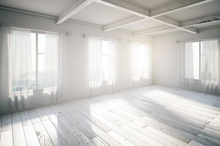 Vuoto interiore loft luminoso con finestre e la luce del sole, rendering 3d