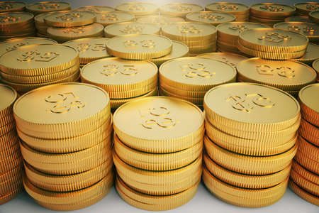 succes: A lot of gold coins in stacks Stock Photo