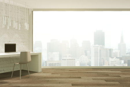 foggy: Loft studio design with panoramic window and misty city view. 3D Render