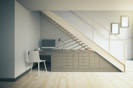 drawers: Interior design of working area with dark table and white chair under stairs. 3D Render