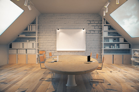 office wall: Wooden conference room with table, chairs, windows on both sides and a small board on the wall. 3D Render