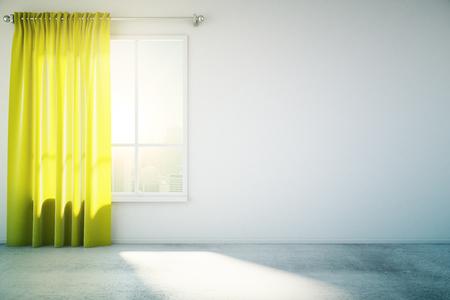 Blank Betonwand in weiß Loft Design-Zimmer mit gelben Vorhang, Fenster und Betonboden. Mock-up, 3D übertragen Standard-Bild - 54116449