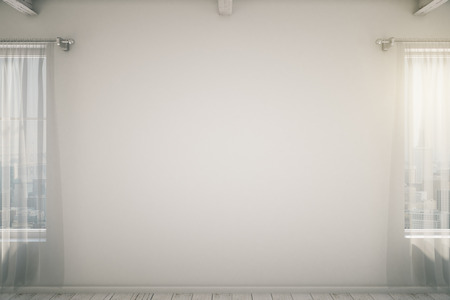 white window: Empty white wall in room with white curtains and windows. Mock up, 3D Render