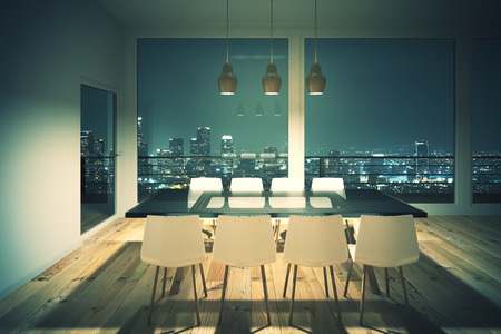 dining area: Black dining table with white chairs in loft interior design room and night city view. 3D Render