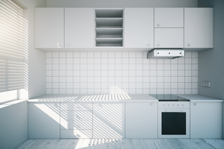 kitchen cabinet: Modern design of a white kitchen interior. 3D Render Stock Photo