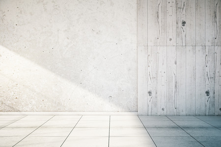 White, partially concrete and wooden empty wall interior with tile floor. Mock up, 3D Render Foto de archivo