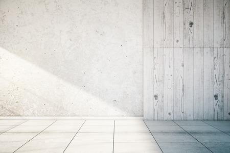 Witte, gedeeltelijk betonnen en houten lege muur interieur met tegelvloer. Mock up, 3D Render