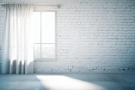 mur de briques Blank en blanc chambre design loft avec fenêtre, rideau et sol en béton. Maquette, 3D Render Banque d'images