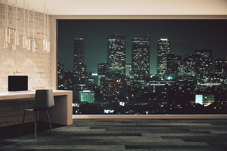 office window view: Loft studio design with panoramic window and night city view. 3D Render