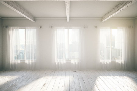 White room loft interior design with three windows, wooden floor, curtains and city view. 3D Render