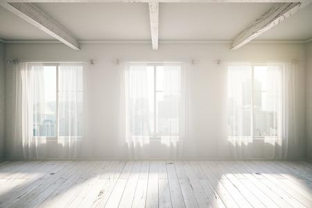 Chambre blanche Loft Design intérieur avec trois fenêtres, plancher en bois, rideaux et vue sur la ville. 3D Render