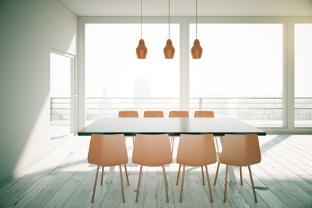 dining table and chairs: White dining table with brown chairs in loft design room with city view. 3D Render