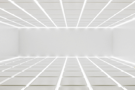 uncarpeted: White room interior with detailed, illuminated ceiling and floor. 3D Render