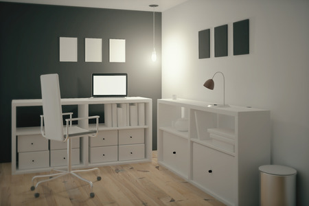 home office desk: Interior design of a work place in an office. 3D Render