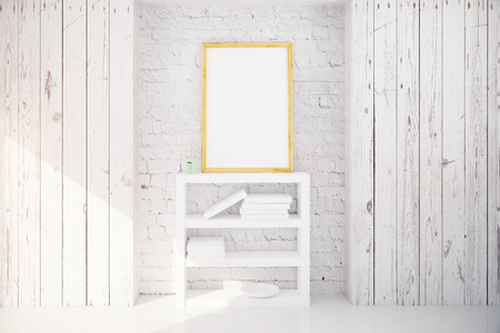 interior walls: Blank picture frame hanging above bookshelf in white wooden loft interior design room. Mock up, 3D Render Stock Photo