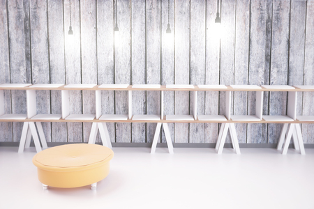 padded: Empty shoe shelves in a store interior with wooden walls, illuminated by light bulbs, and padded stool. 3D Render