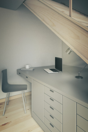 working area: Closeup of a working area with grey table and chair under stairs. 3D Render