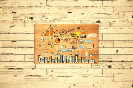 table top: Top view of wooden table with business scheme