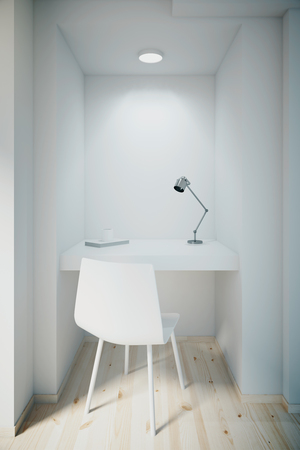 small table: Small white office interior with blank front wall, ceiling and table lamp, built-in table and chair. Mock up, 3D Render