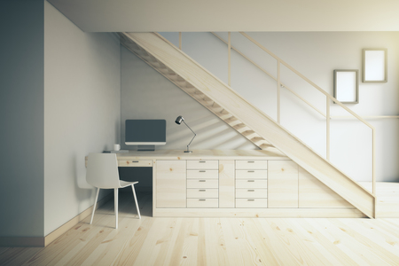 working area: Interior design of working area with light table and white chair under stairs. 3D Render