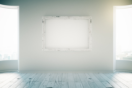 office wall: Blank picture frame in empty white room with windows and wooden floor. Mock up, 3D Render