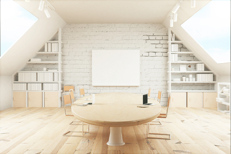 office wall: Light wooden conference room with table, chairs, windows on both sides and a small board on the wall. 3D Render