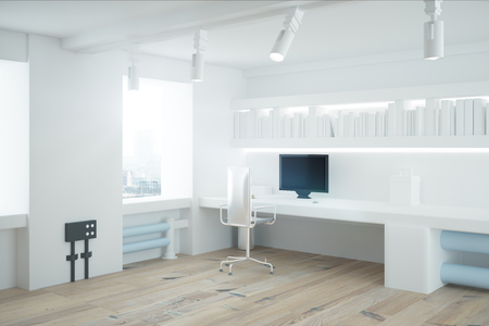 empty office: Side view of white office interior with wooden floor. 3D Render Stock Photo
