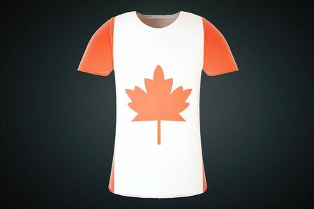 continente americano: Camiseta con estampado de bandera canadiense aislado en un fondo negro. Vista frontal. Render 3D