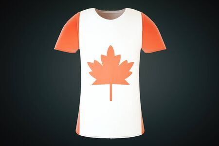 canadian maple leaf: T-shirt with a Canadian flag print isolated on a black background. Front view. 3D Render