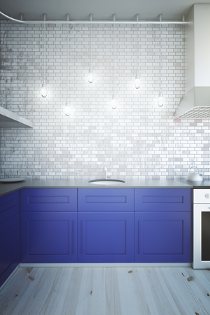 blue wall: Modern blue kitchen interior with brick wall illuminated by several light bulbs. 3D Render