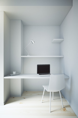 small room: Front view of small white workplace interior. 3D Render Stock Photo