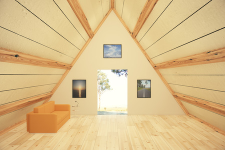 Trianglural wooden interior design with sofa, pictures and door, revealing landscape view. 3D Render Stok Fotoğraf