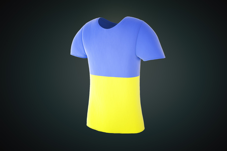 sideview: T-shirt with a Ukrainian flag print isolated on a dark background. Sideview. 3D Render Stock Photo